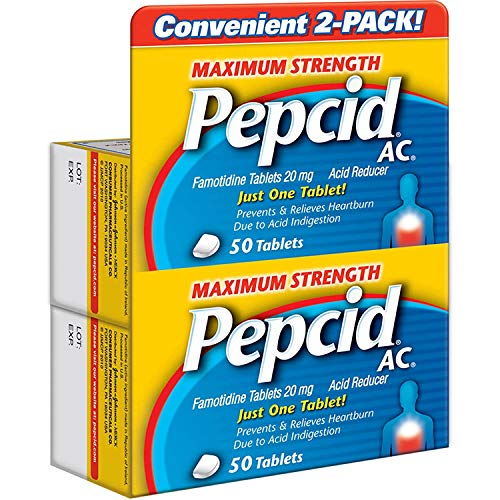 CSC 24  Convenient 2 Pack Pepcid AC Maximum Strength Acid Reducer Prevent Relieves Heartburn Famotidine Tablets 20mg  2 Pack of 50 Tablets 100 Tablets Total