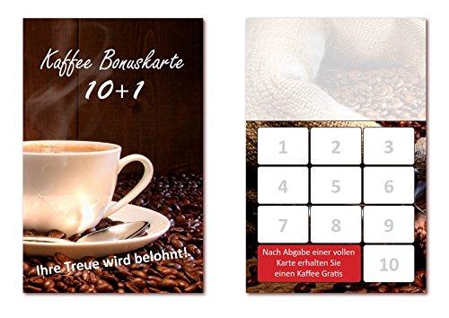 500 Stück Kaffee Bonuskarten (BOK-409) mit 10 Stempelfeldern. Treuekarten passend für Bereiche wie Gastronomie, Restaurant, Gaststätte Bäcker Konditor