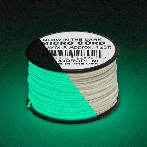 "Glow in the Dark & Reflective Micro Cord: 1/16"" (1.18mm Diameter) 125 Feet Spool of Braided Cord"