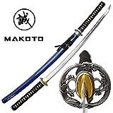 MAKOTO Handmade Navy Blue Sharp Katana Samurai Sword 40', Dragon Round Tsuba