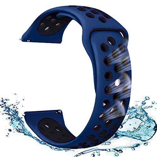 スマートウォッチ交換用バンド 交換ベルト スポーツバンド レッドブラック 高級シリコンバンド 専用スポーツバンド 通気 汚れ防止 水洗い可 ストラップ ラバーベルト、ために適したamazfit bip スマートウォッチ、Yamay/Galaxy Gear S3/KYOKA/GARMIN (Blue-Black)