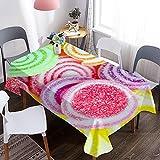 Mantel 3D, Mantel de Mesa Lavable con patrón de Caramelo y Caramelo Colorido, Adecuado para Cocina, Fiesta, decoración de Boda M-10 140x210cm