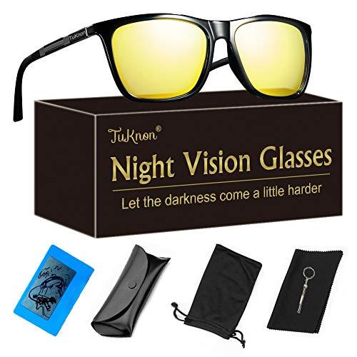 TUKNON Nachtsichtbrille, Blendschutz Nachtfahrbrille, Night Vision Glasses, HD/Polarisiert/Ultra Light Metall/Gewidmet Nachtbrille