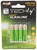 Techly 307001 Blister 4 Batterie High Power Mini Stilo AAA Alcaline LR03 1.5V