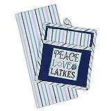 Peace Love Latkes Hanukkah Embellished Potholder Dishtowel 2 Pc Gift Set