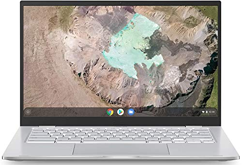 Asus Chromebook C425 Clamshell Laptop, 14' FHD 4-Way NanoEdge, Intel Core m3-8100Y Processor, 4GB RAM, 128GB eMMC Storage, Backlit KB, Silver, Chrome OS, C425TA-WH348