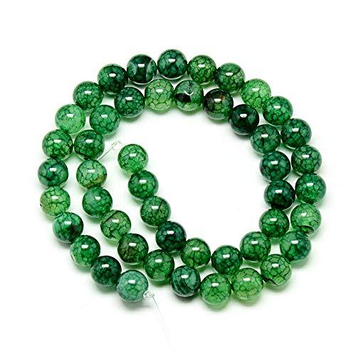 Perlin 30stk Edelstein Perlen Dragon Veins Achat Stein 8mm Grün Rund Edelsteine Schmuckperlen Schmuckstein Perlenkette perlen zum auffädeln...