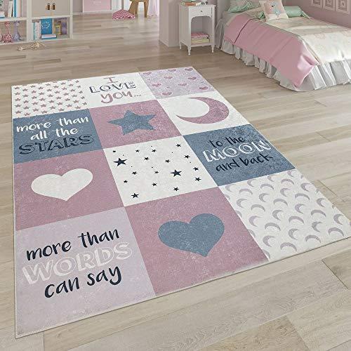 CARPETIA Kinderteppich Spielteppich Babyteppich M/ädchen mit Herz Stern rosa Creme grau Gr/ö/ße 80x150 cm
