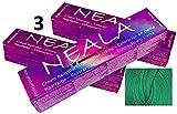 Pack 3 Matizadores Profesional SIN AMONIACO y libre de PPD y MEA - M3- VERDE (anti-rojo) -Intensificador de color VERDE especial para mechas- NEALA 3x100ml.