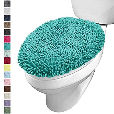 KANGAROO Plush Luxury Chenille Bath Room Toilet Lid Cover, 19.5 Inch x 18.5 Inch Large Size, Extra Soft and Absorbent Kids Shaggy Seat Covers, Washable, Fits Most Bathroom Toilet Lids, Turquoise