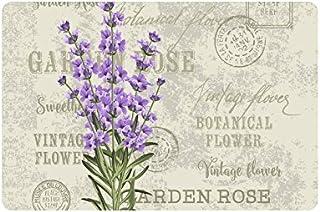 InterestPrint Elegant Postcard Lavender Flowers Vintage Floral Doormat Non-Slip Indoor and Outdoor Door Mat Rug Home Deco...