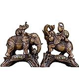 LINGS Resina Feng Shui Elefante Fortunato Statue di Animali Decorazione retrò Ornamento per Casa Ufficio Figurine Regalo di Inaugurazione della Casa Ricchezza Figurine da Collezione(Un Paio),M