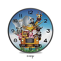 YOLIYANA Non-Ticking Acrylic Decorative Round Wall Clock Funny Animals on a School Bus Zoo Elephant Cow Lion Piggy Giraffe Vintage Rustic Country Tuscan Style Home Decor Round Wall Clock 11.9