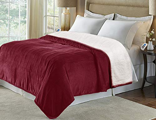 MARQUESS Heated Blanket Micro Plush Sherpa and Reversible Flannel Washable Comfortable Electric Throw Blanket with 4 Heat Settings/Safety 10 Hours Auto-Off Dual Controllers(Burgundy, Queen)