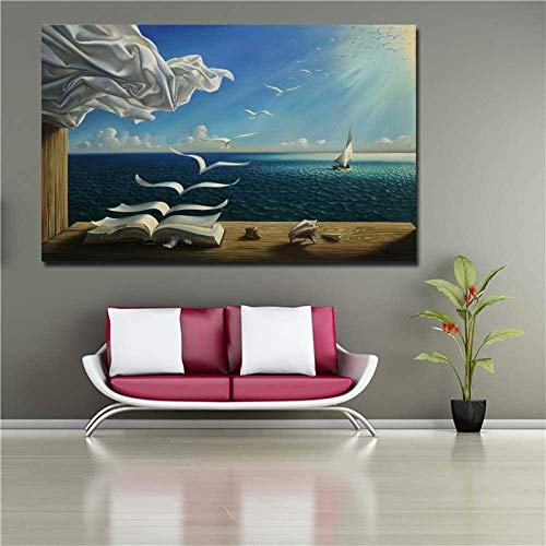 MENG Canvas Print Art Poster Decor The Waves Book Sailboat Picture Canvas painting Diary of Discovery by Vladimir Kush,Size:30x50cm Background wall painting