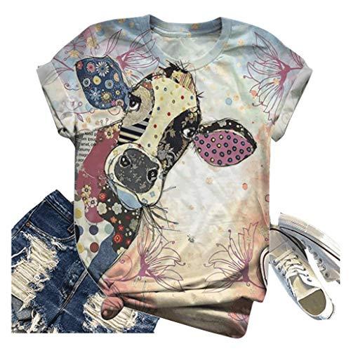 Kanpola Kuh Tshirt Tier Gedruckt Tops Damen Sommer Retro Kurzarm T-Shirts GroßE GrößE Oberteile Casual Rundhals Bluse Frauen 3D Print Shirt