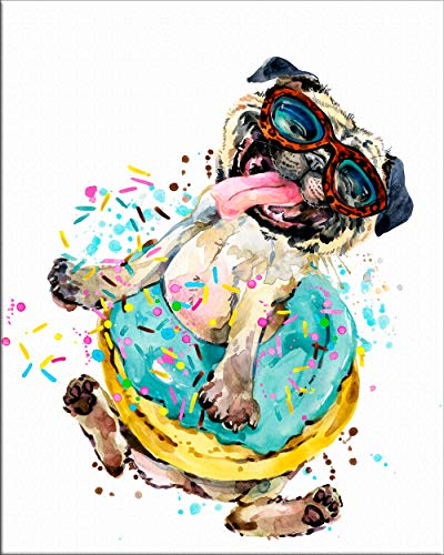 7Dots Art. Dogs. Watercolor Art Print, Poster 8'x10' on Fine Art Thick Watercolor Paper for Childrens Kids Room, Bedroom, Bathroom. Wall Art Decor with Animals for Boys, Girls. (Pug Dog)