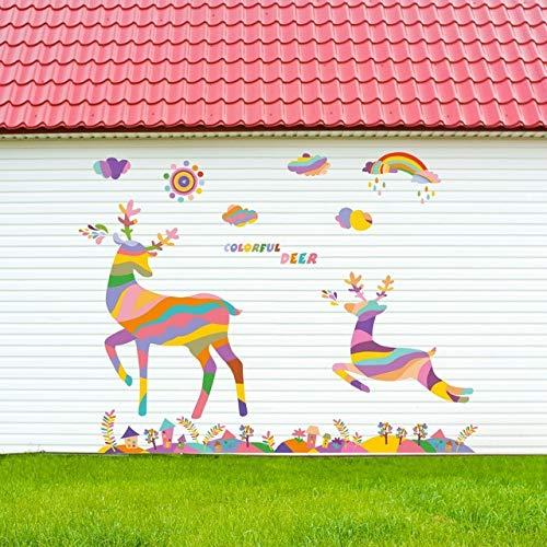 Wandaufkleber Wolke Mi-Lu Wandtattoo Aufkleber Schaufenster Glas Wand Decro Wandbild Hirsch Im Paradies Wand Poster Grafik 60x90 cm