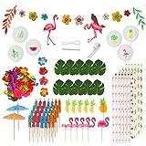 ZERHOK 115 Pezzi Set di Decorazione Tropicale Hawaiano,Ombrello Cocktail Fenicottero Ghirl...