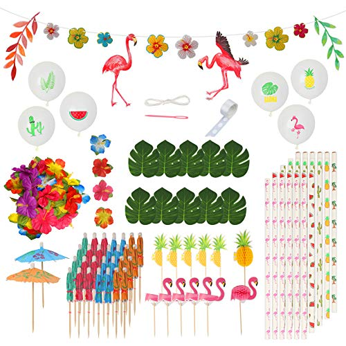 ZERHOK 115Stk Hawaii Party Dekor Set, Tropische Flamingo Banner Palmblätter Hibiskusblumen Girlande Getränk Cupcake Topper Dekor für Aloha Tiki Luau BBQ Sommer Strand Pool Party