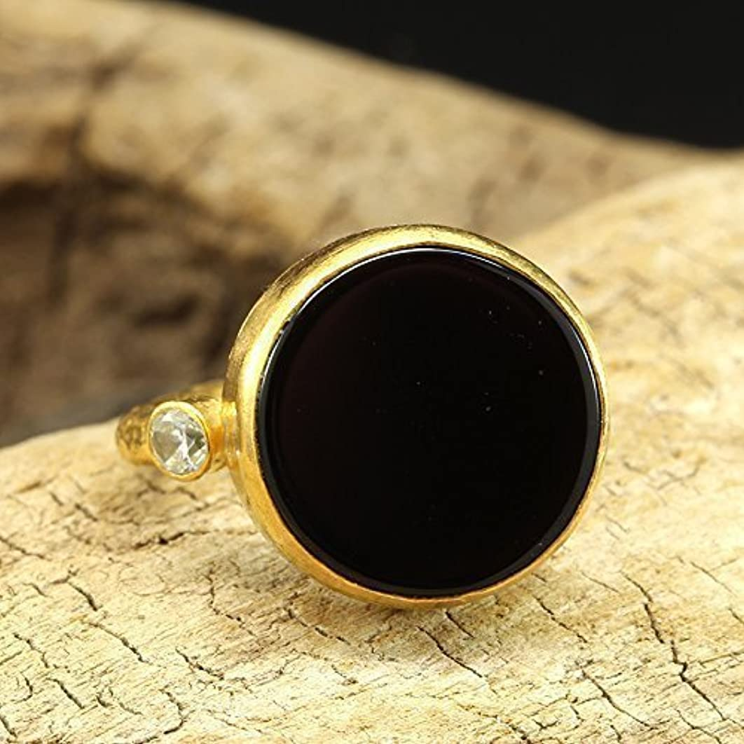 Natural Round Shape Black Onyx Ring 925 Solid Sterling Silver 24K Yellow Gold Vermeil Handcrafted Artisan Hammered Gemstone Ring