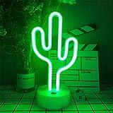 LED con forma de cactus de neón signos de luz con la base del sostenedor decoración de la tabla de la lámpara de noche con las luces de neón con pilas/USB para niños Salón de fiestas Suministros re