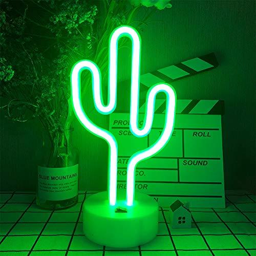 Shaped LED Cactus Neonzeichen-Licht mit Halter-Untertischdekoration Nachttischlampe mit Batteriebetrieb/USB Neonleuchte für Kinderzimmer Partybedarf Tischdekoration Kinder Geschenke Kunst Dorm Deko