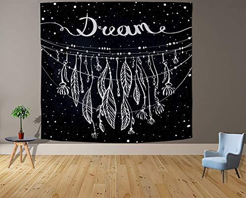 Tapiz blanco y negro Luna Estética Misterio Chakra Meditación Planeta Tapiz de pared Sala de estar Decoración Tapiz a17 150x200cm