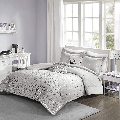 Intelligent Design Zoey Triangle Metallic Print, Cozy Comforter Season Bedding Set, Matching Sham, Decorative Pillow, Twin/Twin XL, Grey/Silver