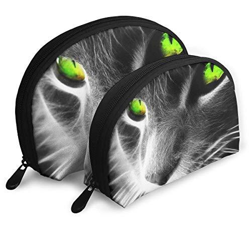 XCNGG Mysterious Grey Cat Aufbewahrungstasche Geldbörse Kosmetische Reise Aufbewahrungstasche Eine große und eine kleine 2-teilige Schreibwaren Bleistift Multifunktions-Tasche Kinder Brieftasche Schlü