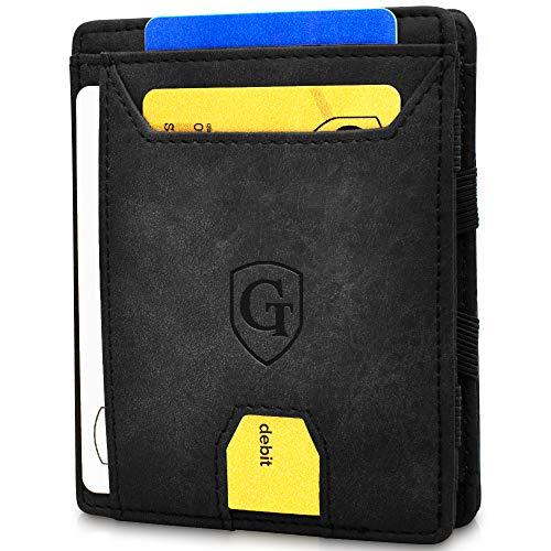 GenTo® Atlantic - Geldbörse Herren - TÜV geprüft - Magic Wallet - Magischer Geldbeutel mit großem Münzfach - Inklusive Geschenkbox - Smart Wallet - Portemonnaie Männer (Schwarz - Soft)