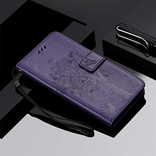 Qiaogle Teléfono Case para Huawei Maimang 6 / Mate 10 Lite - Suerte Árbol de los Deseos Lindo Gato Funda de PU Cuero Billetera Clamshell Carcasa Cover (Púrpura)