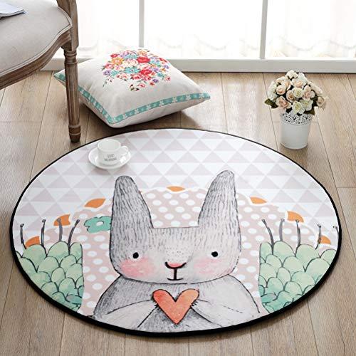 ZI LING SHOP- Leuke Cartoon Roze Bunny Ronde Tapijt Kinderen Klimmat Hangende Basket Stoel Slaapkamer Anti-lip Mat Voor Meisje Babykamer tapijt A-Diameter 100cm