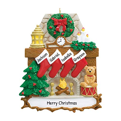 Personalized Fireplace Stockings Family of 4 Christmas Tree Ornament 2020 - Wood Stone Chimney Wreath Red Trumpet Teddy Child Friend Tradition Gift Year Cozy Mother Father Kid - Free Customization