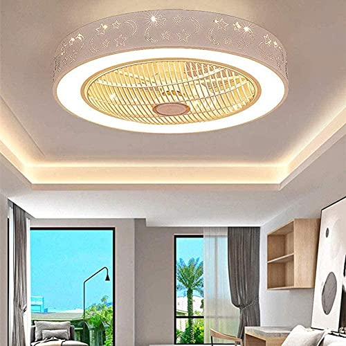 SaixnYz Ventiladores de techo con lámpara Moderno con control remoto Ventiladores de techo con lámpara LED Silent Invisible Lámparas de techo para sala de estar Dormitorio Habitación infantil