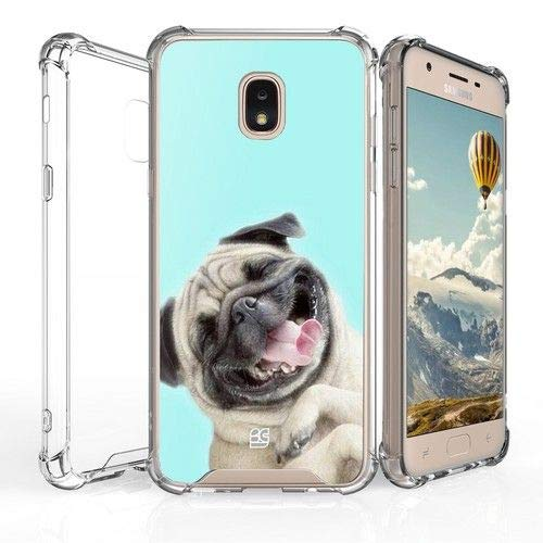 BG Hybrid Slim Lightweight Snap-On Back Cover w/Shockproof Corners Case Compatible with Samsung Galaxy J3 2018 / J3 Achieve / J3 Star/Amp Prime 3 / Express Prime 3 / J3 Orbit / J3 V 3rd Gen - Pug