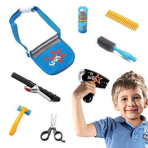 Liberty Imports Star Stylist Beauty Salon Fashion Play Set with Hairdryer, Curling Iron, Tool Belt & Styling Accessories