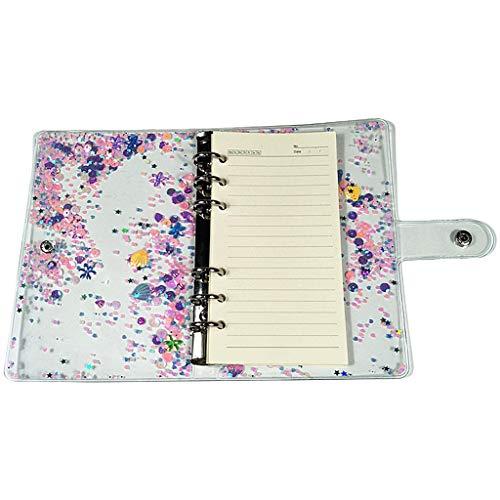 SHOTAY A5 A6 Glitter Lentejuelas Carpeta de Hojas Sueltas Cubierta de Cuaderno Transparente 6 Anillos Carpeta de Archivos Papelería Material de Oficina Escolar 03A5#