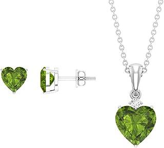2.75 CT Peridot and Diamond Jewelry, Pendant and Earring Set (8X6, 6X4 MM Heart Cut Peridot)