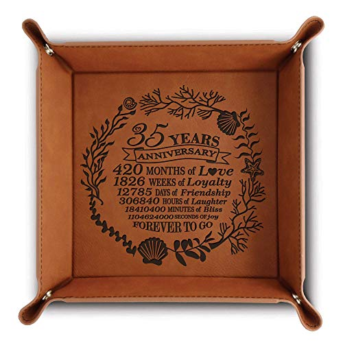 Bella Busta- 35 Years Anniversary- Traditional Coral 35th Wedding Anniversary-Engraved Leather Tray with Corals Design and 35 years with a detailed breakdown (6 x6 Rawhide)