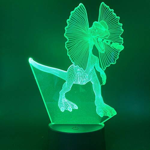 Solo 1 pcs Dinosaurio enojado animal con oreja grande Luz de noche led para niño Regalo de cumpleaños infantil como dormitorio Sala de estudio Lámpara decorativa de ilusión 3d