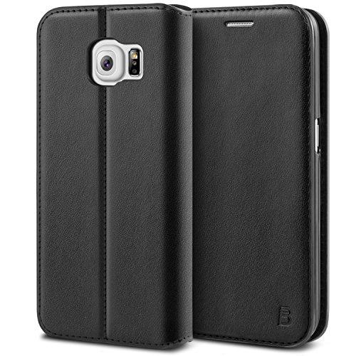 BEZ® Cover Samsung S6 Edge, Custodia Compatibile per Samsung Galaxy S6 Edge, Protettiva Portafoglio in Pelle con Porta Carta di Credito, Kick Stand, Nero
