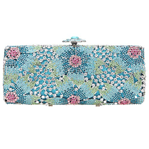 Fawziya Sakura Flower Hard Case Purse Luxury Crystal Evening Clutch Handbag-Blue