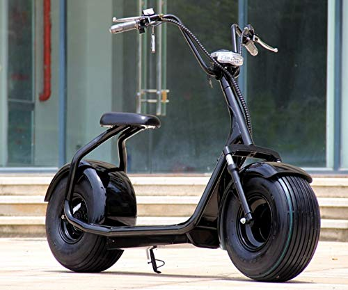 Electric Fat Front and Back Tire Scooter Chopper Harley Style CityCoco Bike eBike Moped, 2000W 60V 18AH (Black)