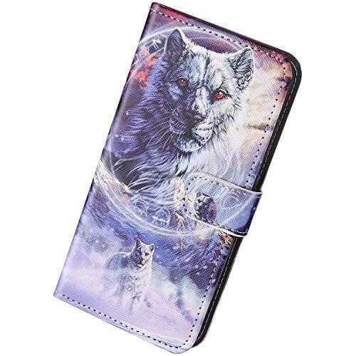 Herbests Kompatibel mit iPhone 8 4.7 / iPhone SE 2020 Handyhülle Brieftasche Hülle Bunt Motiv Muster Leder Schutzhülle Flip Case Handytasche Lederhülle Klapphülle Magnetisch Kartenfach,Wolf
