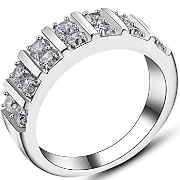 Jude Jewelers Stainless Steel Cubic Zircon Eternity Wedding Engaegment Band Ring  Silver 9