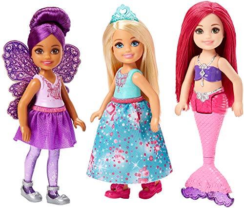 Mattel Barbie Dreamtopia-Pack de 3 muñecas Chelsea Sirena, Hada y Princesa, Multicolor FPL86