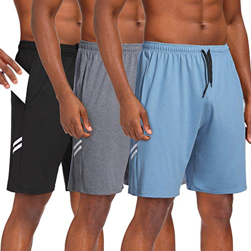 Runhit 3 Pack Athletic Workout Shorts for Men with Pocket Quick Dry 9 inch Men's Gym Running Basketball Shorts