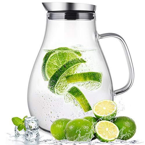 SUSTEAS 2 liter glass pitcher water jug juice carafe with lid and spout for homemade beverage