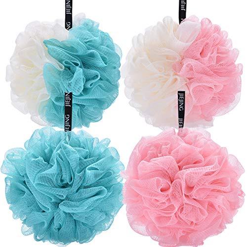 Bath Sponge Bath Shower Sponge Loofahs Balls 60g/PCS Extra Large Mesh Pouf Soft Scrubber for Men and Women Pack of 4